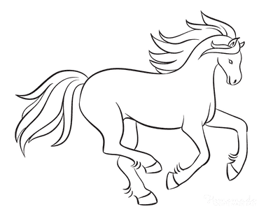 Horse Coloring Pages Outline Flowing Mane