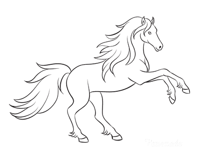Horse Coloring Pages Outline Flowing Mane Rearing