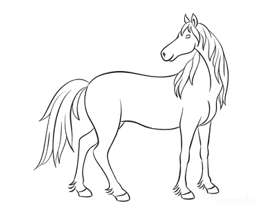 Horse Coloring Pages Outline Standing Looking Backwards