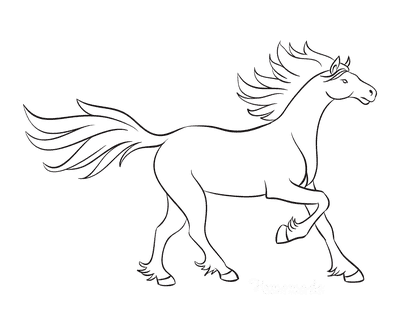 Horse Coloring Pages Outline Wind in Mane