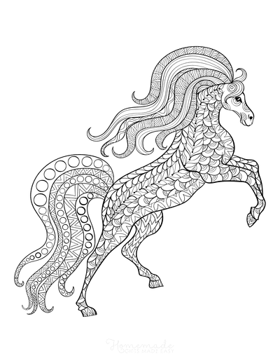 Horse Coloring Pages Patterned Flowing Mane Rearing for Adults