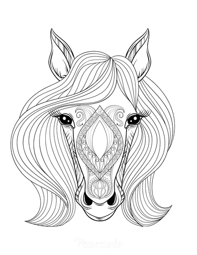 Horse Coloring Pages Patterned Horse Head for Adults