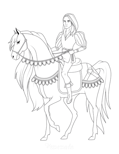 Horse Coloring Pages Prince Riding Elegant Horse