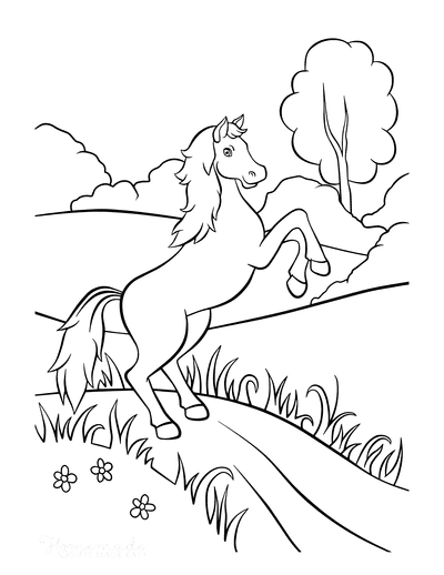 Horse Coloring Pages Rearing Country Scene