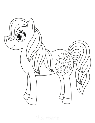 Horse Coloring Pages Rearing Cute Pony Preschoolers