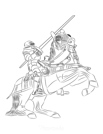 Horse Coloring Pages Rearing Knight Armor Lance