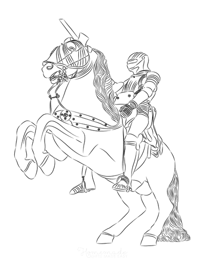 Horse Coloring Pages Rearing Knight in Armor