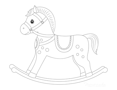 Horse Coloring Pages Rocking Horse Preschoolers