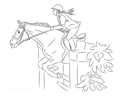 Horse Coloring Pages Show Jumping
