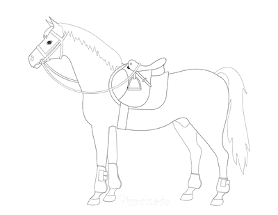Horse Coloring Pages Simple Horse With Saddle