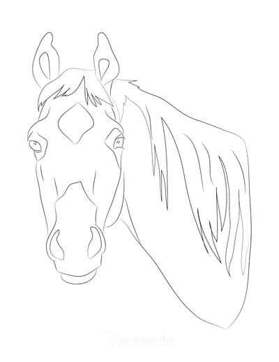 Horse Coloring Pages Simple Line Drawing Head