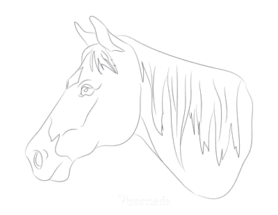 Horse Coloring Pages Simple Line Drawing Head Side View
