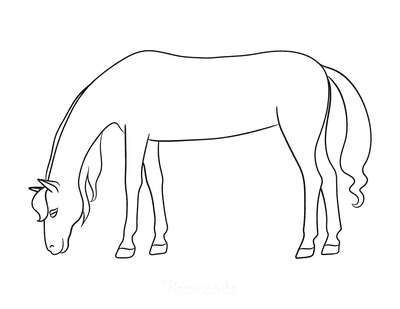 Horse Coloring Pages Simple Outline Horse Grazing