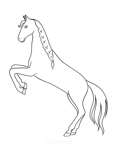 Horse Coloring Pages Simple Outline Horse Rearing