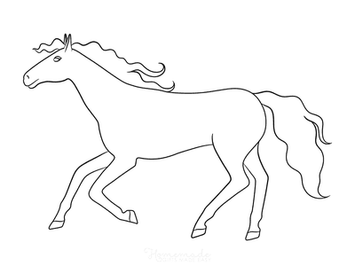 Horse Coloring Pages Simple Outline Horse Running