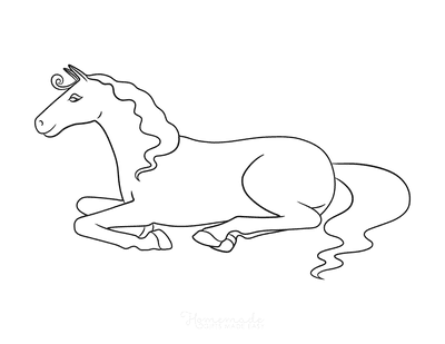 Horse Coloring Pages Simple Outline Horse Sitting
