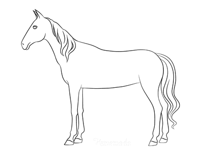 Horse Coloring Pages Simple Outline Horse Standing