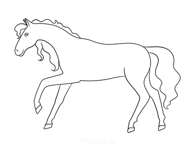 Horse Coloring Pages Simple Outline Horse Walking