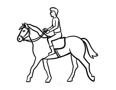 Horse Coloring Pages Simple Outline Man Riding