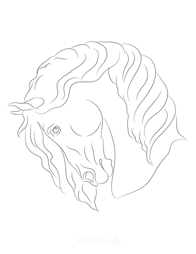 Horse Coloring Pages Simple Sketch Head