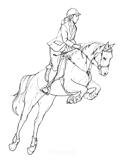 Horse Coloring Pages Sketch Horse Jumping