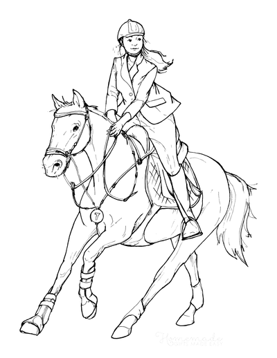 Horse Coloring Pages Sketch Lady Riding Turning