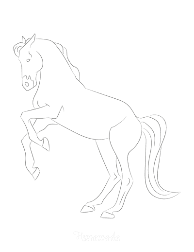Horse Coloring Pages Sketch Line Drawing Rearing