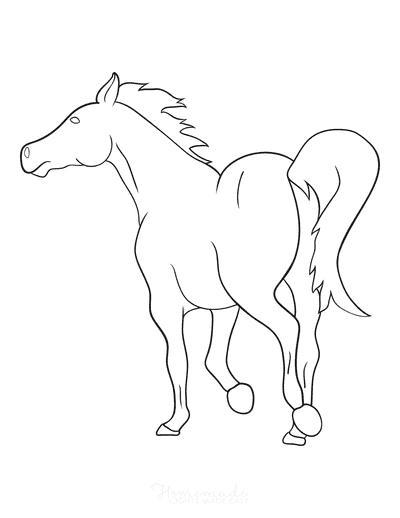 Horse Coloring Pages Trotting Away Simple Outline