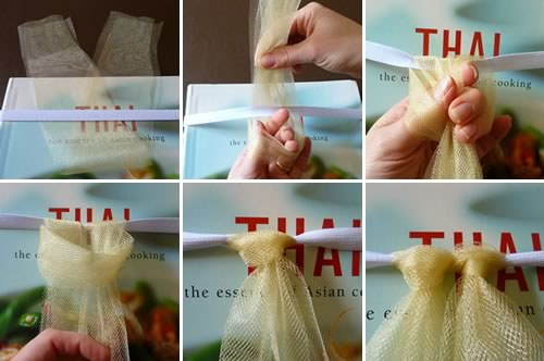 how to make a tutu knotting onto elastic
