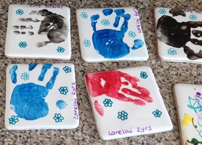 how to make hand print tile coasters