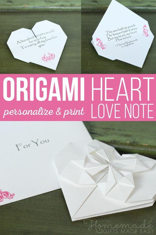 Origami heart love note - step by step tutorial & template