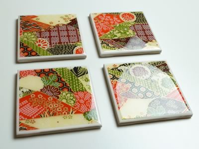 how to make tile coasters - finished four