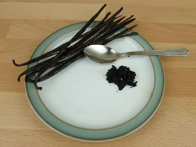 how to make vanilla extract - beans and caviar on plate