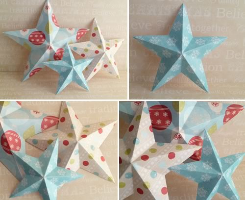 making christmas decorations - 3d paper stars