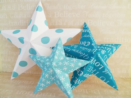 Making christmas decorations easy 3d stars baubles and for 3d star christmas decoration