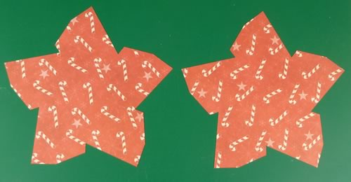 making double sided 3d star christmas decorations cut out star shapes