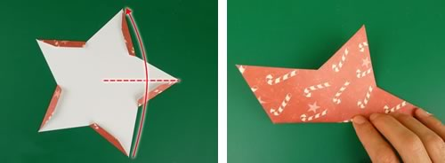 making double sided 3d star christmas decorations - fold arm in half