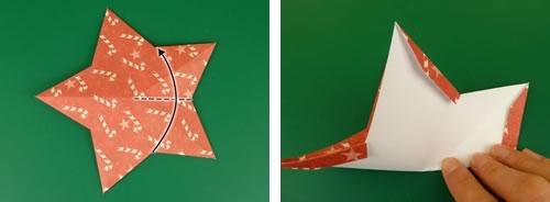 making double sided 3d star christmas decorations - fold in half