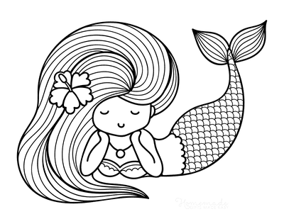 Mermaid Coloring Page Cute Cartoon Flower Hair