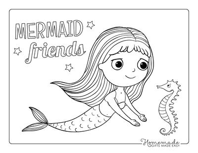 Mermaid Coloring Page Cute Large Eyes Mermaid Seahorse