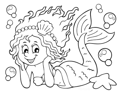 Mermaid Coloring Page Cute Swimming Mermaid With Bubbles