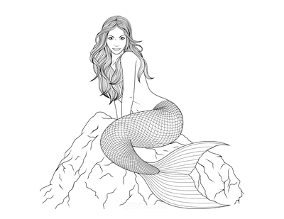 Mermaid Coloring Page Sitting on a Rock