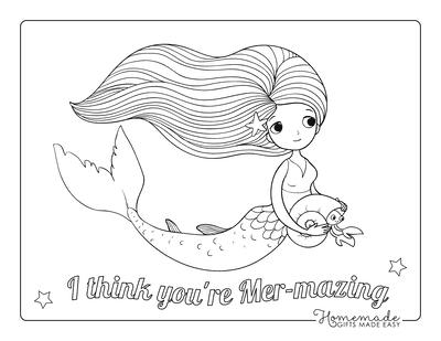 Mermaid Coloring Page Swimming Hair Flowing Cute Crab