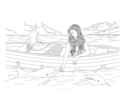 Mermaid Coloring Page With Dolphins