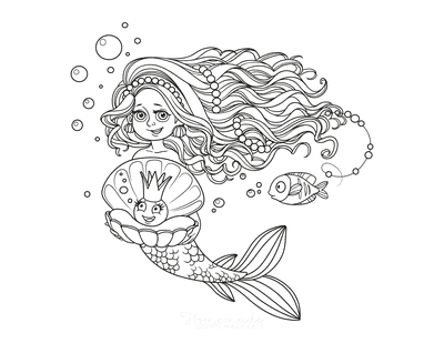 Mermaid Coloring Page With Pearls