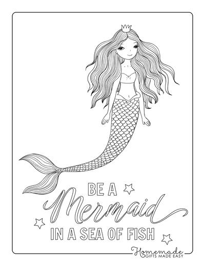 Mermaid Coloring Pages Beautiful Flowing Hair Crown