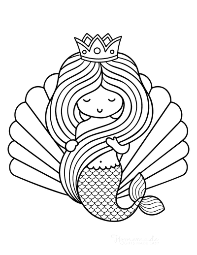 Mermaid Coloring Pages Clam