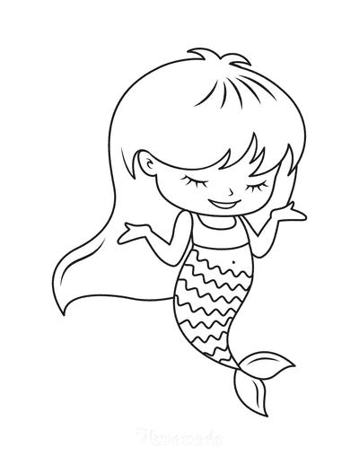 Mermaid Coloring Pages Cute Girl