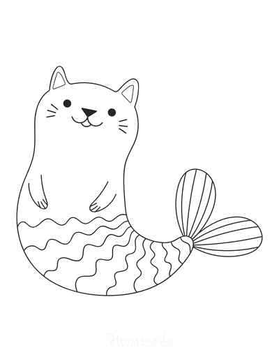Mermaid Coloring Pages Cute Mercat