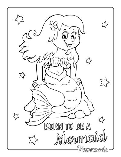 Mermaid Coloring Pages Cute Mermaid on Rock